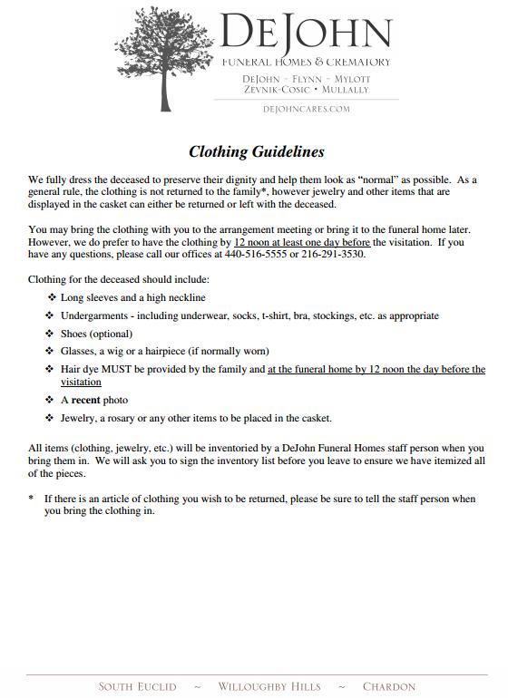 clothing guidelines dejohn funeral homes crematory. Black Bedroom Furniture Sets. Home Design Ideas