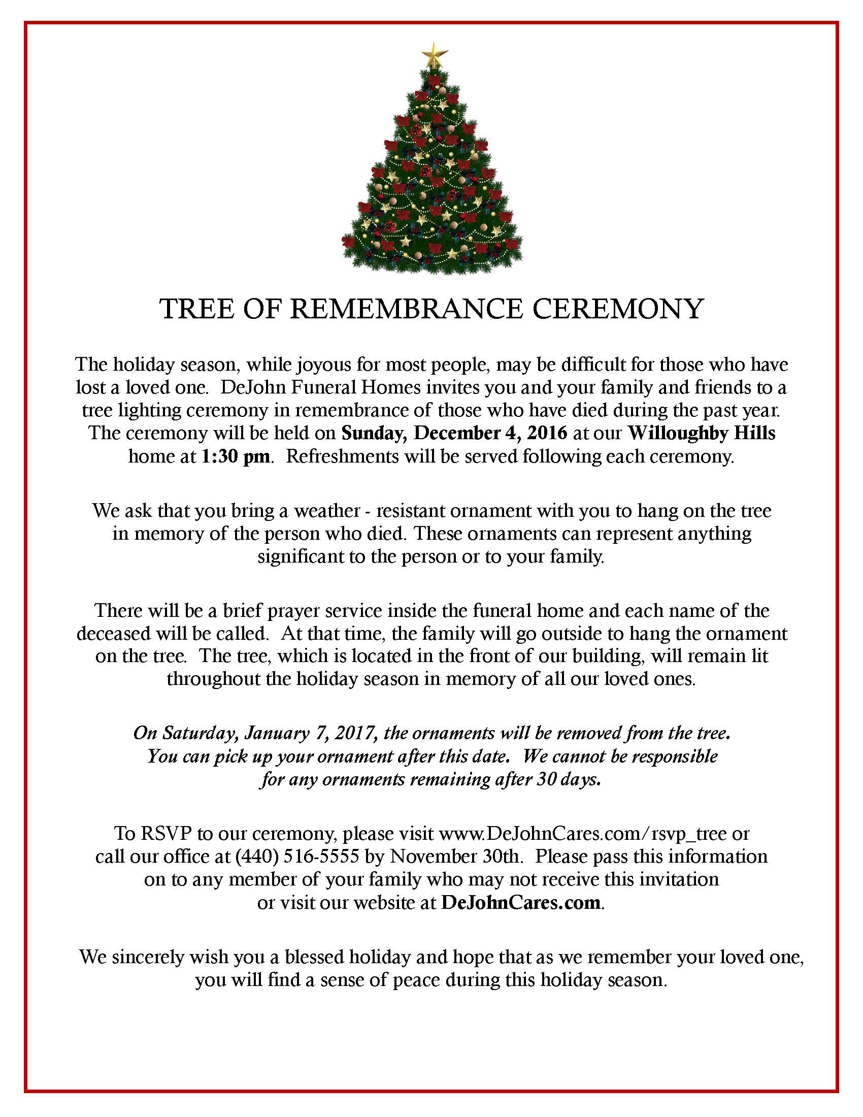 Tree of Remembrance Ceremony - DeJohn Funeral Homes & Crematory